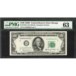 1950E $100 Federal Reserve Note Chicago Fr.2162-G PMG Choice Uncirculated 63