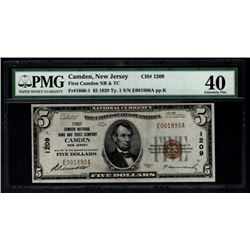 1929 $5 Camden National Bank Note PMG 40