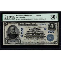 1902 $5 St Paul National Bank Note PMG 30EPQ