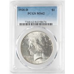 1926-D $1 Peace Silver Dollar Coin PCGS MS62