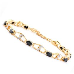 Plated 18KT Yellow Gold 6.50ctw Black Sapphire and Diamond Bracelet