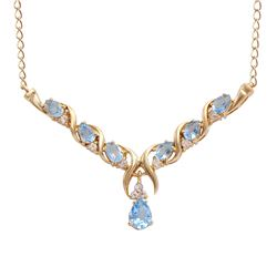 Plated 18KT Yellow Gold 4.00ctw Blue and White Topaz Pendant with Chain
