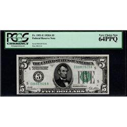 1928a $5 Richmond Federal Reserve Note PCGS 64PPQ
