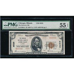 1929 $5 Chicago National Bank Note PMG 55EPQ