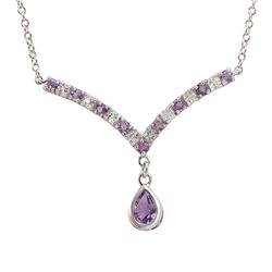 Plated 18KT Yellow Gold  2.65ctw Amethyst and White Topaz Pendant with Chain