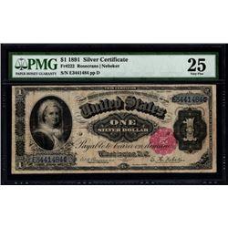 1891 $1 Martha Washington Silver Certificate PMG 25
