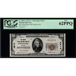 1929 $20 Portland National Bank Note PCGS 62PPQ
