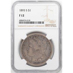 1893-S $1 Morgan Silver Dollar Coin NGC F12