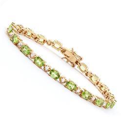 Plated 18KT Yellow Gold 9.00ctw Peridot and Diamond Bracelet