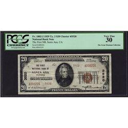 1929 $20 Santa Ana National Bank Note PCGS 30