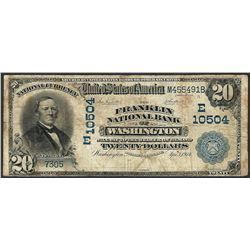 1902 DB $20 Franklin NB of Washington, DC CH# 10504 National Currency Note