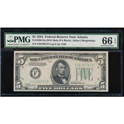 1934 $5 Atlanta Federal Reserve Note PMG 66EPQ