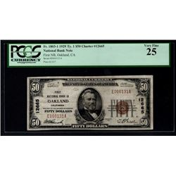 1929 $50 Oakland National Bank Note PCGS 25