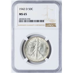 1942-D Walking Liberty Half Dollar Coin NGC MS65