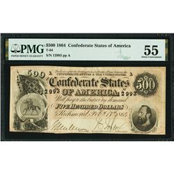 1864 $500 Confederate States of America Note PMG 55