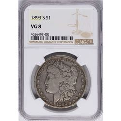 1893-S $1 Morgan Silver Dollar Coin NGC VG8