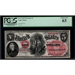 1875 $5 Woodchopper Legal Tender Note PCGS 63