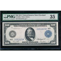 1914 $50 Cleveland Federal Reserve Note PMG 35
