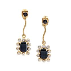 Plated 18KT Yellow Gold 2.05ctw Black Sapphire and Diamond Earrings