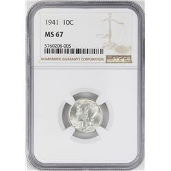 1941 Mercury Dime Coin NGC MS67