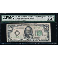 1934B $50 Minneapolis Federal Reserve Note PMG 35EPQ
