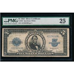 1923 $5 Lincoln Porthole Silver Certificate PMG 25