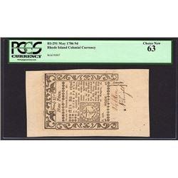 1786 Nine Pence Rhode Island Colonial Note PCGS 63