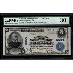 1902 $5 Chester National Bank Note PMG 30