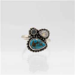 Sterling Silver Turquoise Multi Gem Ring