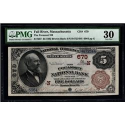 1882 $5 Fall River Pocasset National Bank Note PMG 30