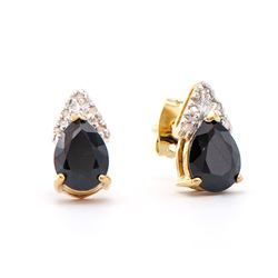 Plated 18KT Yellow Gold 2.85ctw Black Sapphire and Diamond Earrings