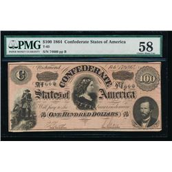 1864 $100 Confederate States of America Note PMG 58