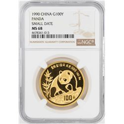 1990 Small Date China 100 Yuan Gold Panda Coin NGC MS68