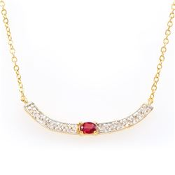 Plated 18KT Yellow Gold 0.25ct Ruby and Diamond Pendant with Chain