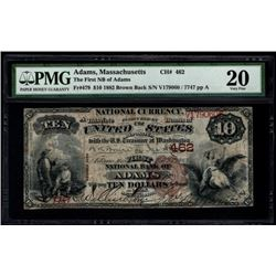 1882 $10 Adams National Bank Note PMG 20