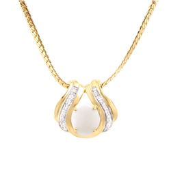 Plated 18KT Yellow Gold 3.00ct Opal and Diamond Pendant with Chain