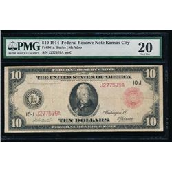 1914 $10 Red Seal Kansas City Federal Reserve Note PMG 20