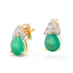 Plated 18KT Yellow Gold 2.00ctw Green Agate and Diamonds Earrings