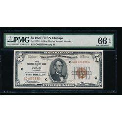 1929 $5 Chicago National Bank Note PMG 66EPQ