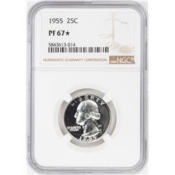 1955 Proof Washington Quarter Coin NGC PF67* Star
