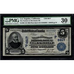 1902 $5 Los Angeles National Bank Note PMG 30
