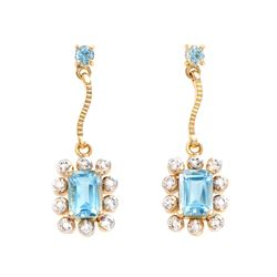 Plated 18KT Yellow Gold 2.06ctw Blue Topaz and Diamond Earrings