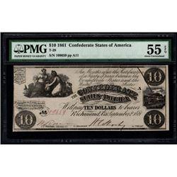 1861 $10 Confederate States of America Note PMG 55EPQ