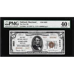 1929 $5 First NB of Oakland, MD CH# 5623 National Note PMG Extremely Fine 40EPQ
