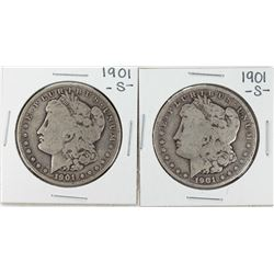 Lot of (2) 1901-S $1 Morgan Silver Dollar Coins