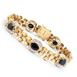Plated 18KT Yellow Gold 11.00ctw Black Sapphire and Diamond Bracelet