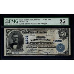 1902 $50 East St Louis National Bank Note PMG 25