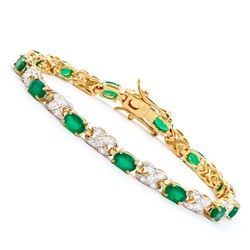 Plated 18KT Yellow Gold 4.50ctw Green Agate and Diamond Bracelet