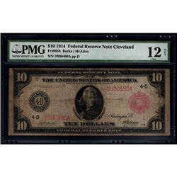 1914 $10 Red Seal Cleveland Federal Reserve Note PMG 12NET