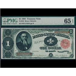 1891 $1 Treasury Note PMG 65EPQ
